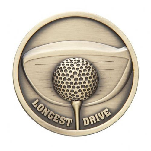 Links Series Longest Drive Golf Medal Gold 70mm